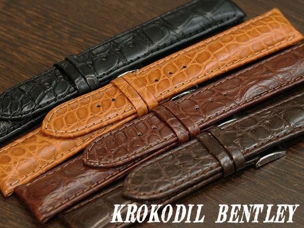 【ディモデル】クロコダイル ベントレイ ブラック/ブラウン 時計ベルト