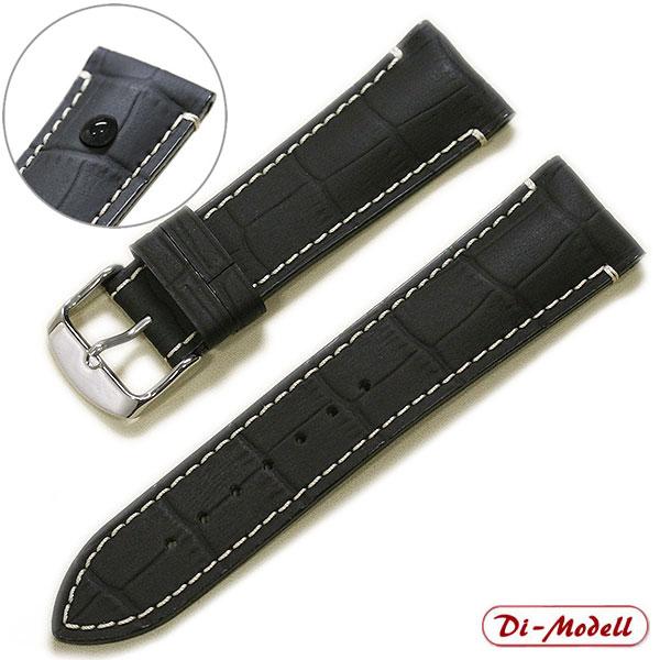 【ディモデル】BORNEO(ボルネオ) ラバーコーティング カーフ型押し ブラック 時計ベルト