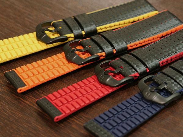 【ヒルシュ】アイルトン カーボン 型押し ブラック/イエロー/オレンジ/ブルー/レッド 20mm/22mm/24mm 裏ラバー 時計ベルト