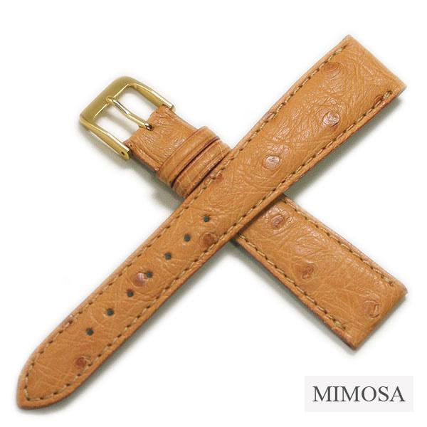 【ミモザ】レディース オーストリッチ ブラック/ブラウン/ベージュ 時計ベルト 時計バンド