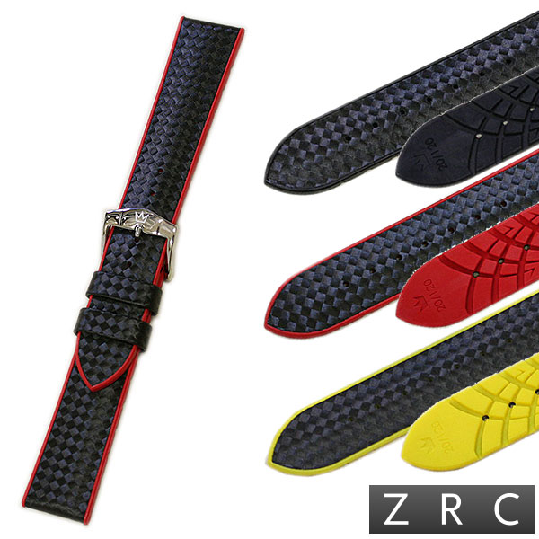 【ZRC】【ROCHET】ズッコロ HYBRID(ハイブリッド) カーボン型押し×ラバー ブラック/レッド/イエロー 時計ベルト