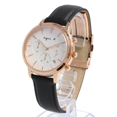 agnes b. / アニエスベー BT3039X1 腕時計 メンズ レザー ピンクゴールド シルバー クロノグラフ 【あす楽対応_東海】