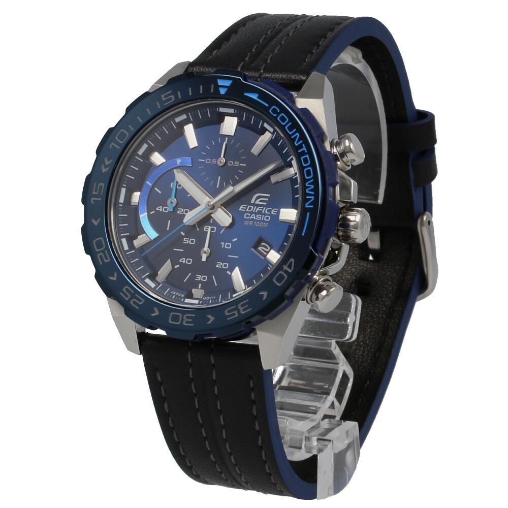 CASIO カシオ / EDIFICE エディフィス EFR-566BL-2A クロノグラフ ブルー×ブラック 腕時計 メンズ レザー ステッチ 【あす楽対応_東海】