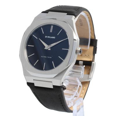 D1 Milano / ディーワンミラノ UTLJ01腕時計 メンズ Ultra Thin Watch Silver Black Leather strap 【あす楽対応_東海】
