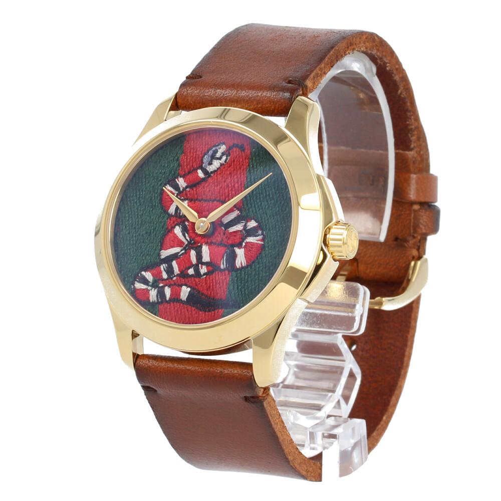 GUCCI / グッチ YA1264012 I G-TIMELESS G-タイムレス 腕時計 メンズ レディース ユニセックス レザー ゴールド ブラウン スネーク刺繍 蛇 【あす楽対応_東海】