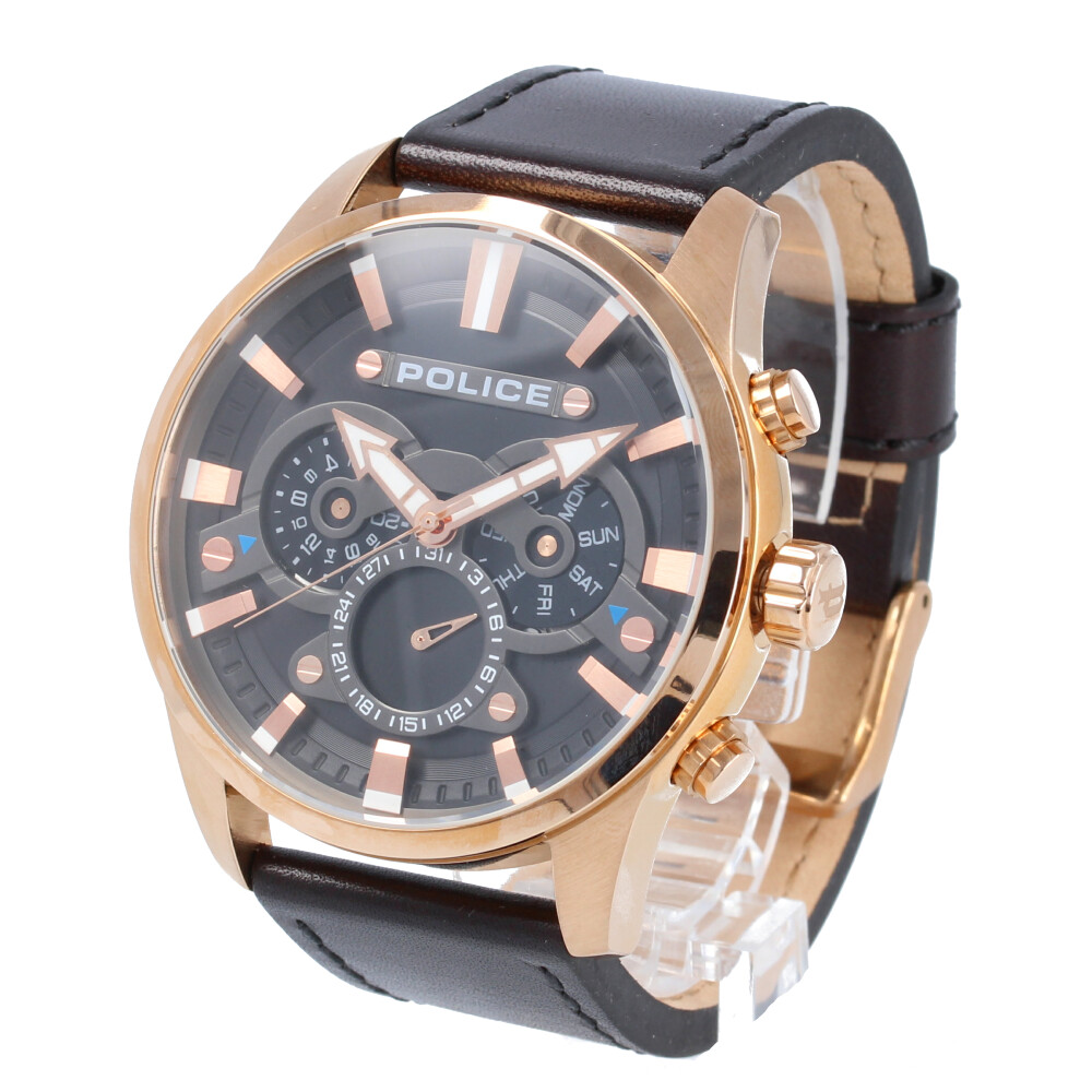 POLICE / ポリス PL.14834JSR/02 Escape エスケープ 腕時計 メンズ レザー ブラック ローズゴールド マルチファンクション 【あす楽対応_東海】