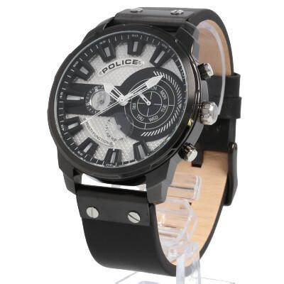 POLICE / ポリス PL.15217JSU/04 Leicester レスター 腕時計 メンズ レザー ブラック シルバー 【あす楽対応_東海】