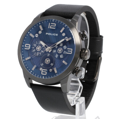 POLICE / ポリス PL.15415JSU/03 Key West キーウエスト 腕時計 メンズ レザー ブラック ブルーダイアル マルチファンクション 【あす楽対応_東海】