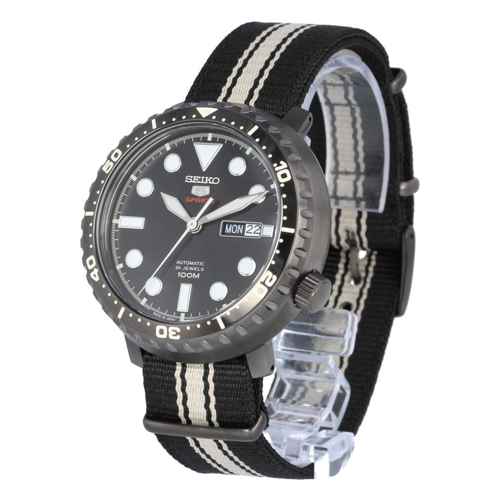 SEIKO 5 / セイコーファイブ SRPC67J 腕時計 メンズ ナイロン 自動巻き 機械式 ブラック アイボリー 【あす楽対応_東海】