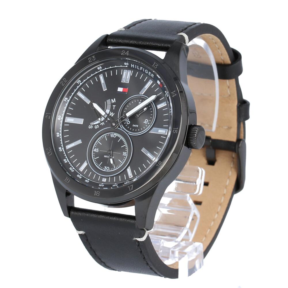 TOMMY HILFIGER / トミーヒルフィガー 1791638 Austin オースティン マルチファンクション 腕時計 オールブラック メンズ レザー 【あす楽対応_東海】