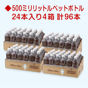 ときわの命水 500mlペットボトル24本入【4箱】計96本国産 天然水 軟水 ミネラルウォーター 防災グッズ 非常食