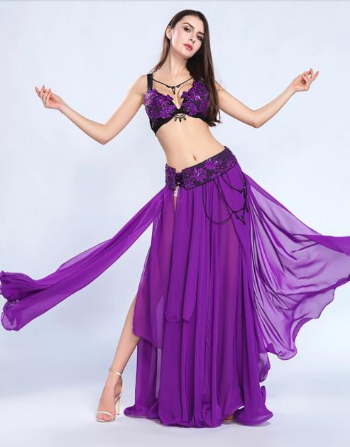 3color 社交ダンス ベリーダンス衣装 フリンジ スパンコール クラーデション レディース 上下セット+腰巻き 3点セット 舞台風 演出