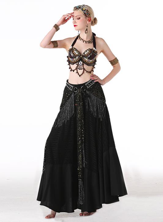 社交ダンス ベリーダンス衣装 フリンジ スパンコール クラーデション レディース 上下セット+ 腰巻き 3点セット 舞台風 演出