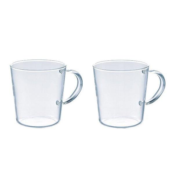 送料無料 ホットでもアイスでも便利に使える耐熱ガラスのマグカップ トラスト 食洗機 電子レンジ対応 ハリオ 耐熱ガラス製ストレートマグ 満水容量300ml HARIO 2個セット SRM-1824 正規認証品!新規格