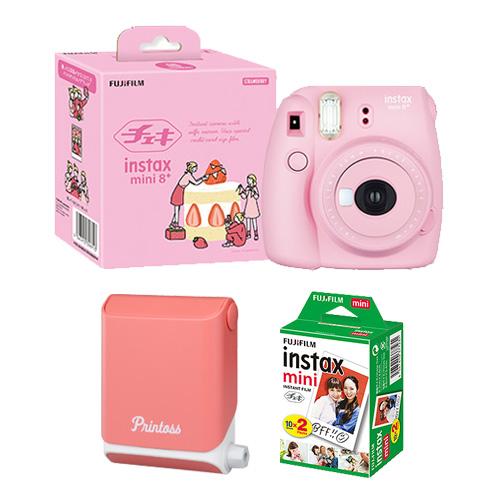 【チェキプリ】インスタントカメラ チェキ mini 8+(プラス)&スマートフォン用プリンタープリントス フィルム20枚セット