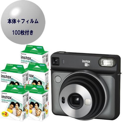 【フィルム100枚付】富士フィルム チェキスクエアカメラ instax SQUARE SQ6 グラファイトグレー【フィルム100枚セット】