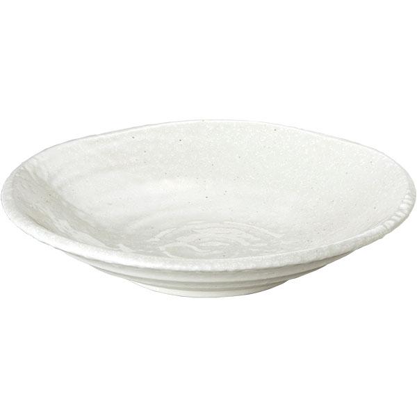 ただ白いだけじゃない 斑点や土の黒さが表情ゆたかな粉引 つけ麺用皿 鳴門 24cm深皿 粉引 中華食器・アジアン食器 つけ麺用皿 日本製 業務用 麺皿 めん皿 冷やし中華 パスタ皿 カレー皿 63-9-129-8