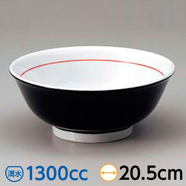 黒巻反68高台丼 21cm 中華食器 アジアン食器 ラーメン丼 和風 美濃焼 業務用 26-680-216-mi
