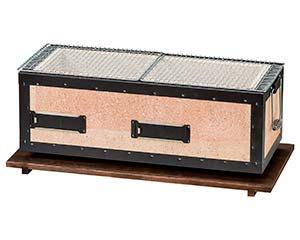 炭焼バーベキューコンロ 中 4_8人用 金網2枚付 和食器 コンロ 敷板 業務用 26-A413-016-wa