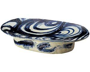 安南刷毛目 高台 楕円 盛込皿 手造り 52cm 和食器 大鉢 日本製 美濃焼 業務用 26-232-036-mi