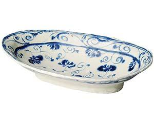 安南呉須更紗 楕円高台大盛鉢 和食器 大鉢 日本製 美濃焼 業務用 26-235-056-mi