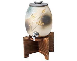 金彩 花彫サーバー 2000cc 木台付 和食器 焼酎サーバー ボトル ワインクーラー 日本製 信楽焼 業務用 26-264-086-me
