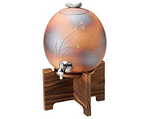 火色小花サーバー 3000cc 木台付 和食器 焼酎サーバー ボトル ワインクーラー 日本製 信楽焼 業務用 26-264-106-me