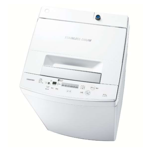 【設置+リサイクル(別途料金)】東芝 AW-45M7-W(ピュアホワイト) 全自動洗濯機 洗濯4.5kg