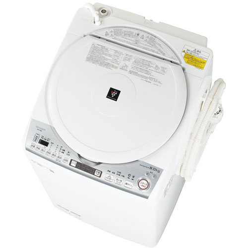 【設置+リサイクル(別途料金)】シャープ ES-TX8D-W(ホワイト) タテ型洗濯乾燥機 上開き 洗濯8kg/乾燥4.5kg