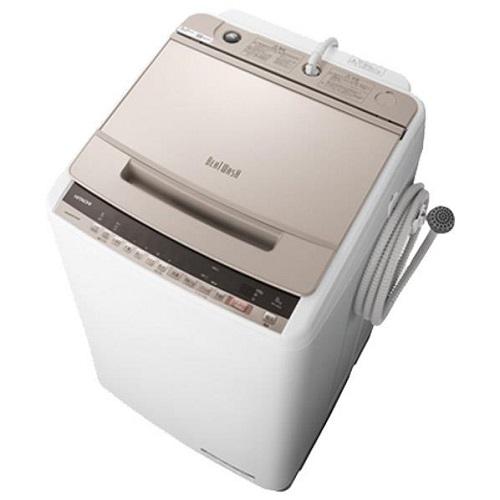【設置】日立 BW-V80E-N(シャンパン) ビートウォッシュ 全自動洗濯機 上開き 洗濯8kg
