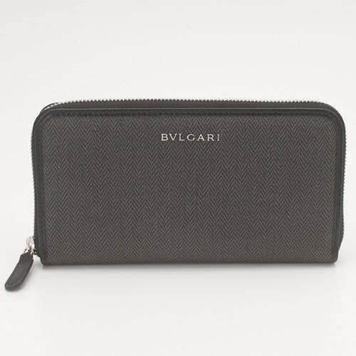 BVLGARI 32587 キャンバス ブラック 長財布