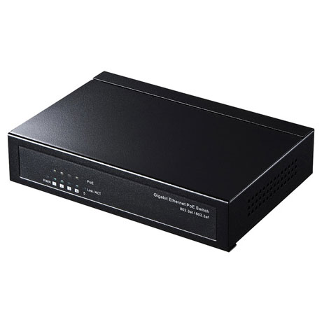 サンワサプライ LAN-GIGAPOES5 ギガビット対応薄型PoEハブ 5ポート