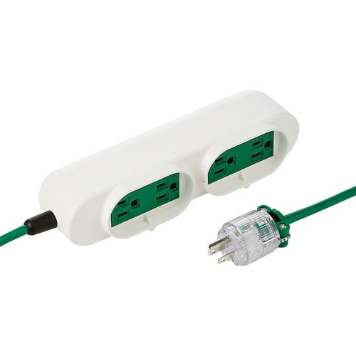サンワサプライ 病院用タップ 3P・4個口(横挿し) 3m TAP-MR7548TD5M(グリーン)