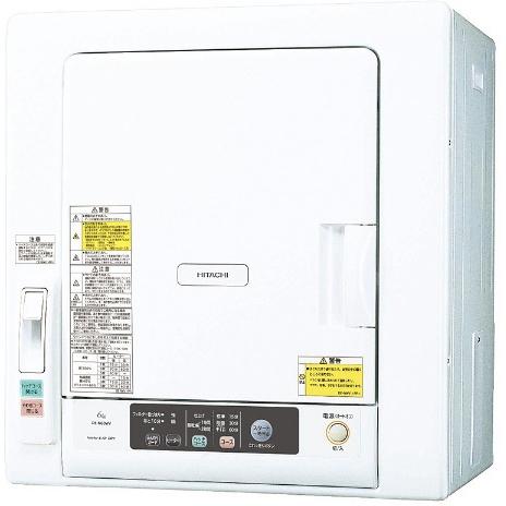 【設置+リサイクル】日立 DE-N60WV-W(ピュアホワイト) 衣類乾燥機 6kg