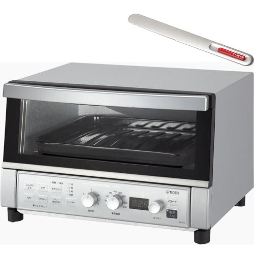 タイガー魔法瓶 KAS-G130-SN(シルバー) やきたて コンベクションオーブン&トースター 1312W & バターナイフ(レッド)