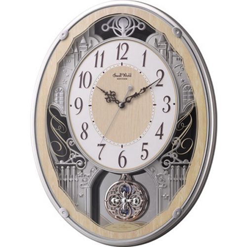リズム時計 4MN538RH23(木目仕上) スモールワールドクラッセ 報時付電波掛け時計