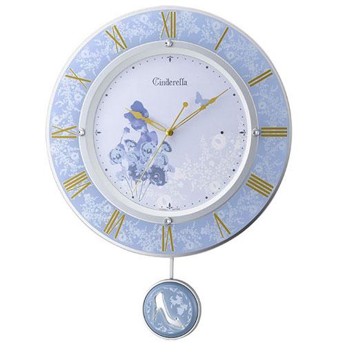 リズム時計 8MX406MC04(青) シンデレラ 電波掛け時計