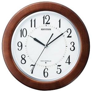 リズム時計 8MY461SR06(茶色半艶仕上) リバライトF461SR 照明付電波掛け時計