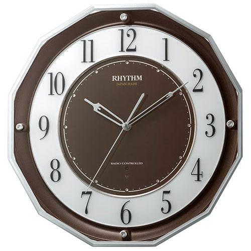 リズム時計 4MY846SR06(茶メタリック) スリーウェイブM846 高感度電波掛け時計