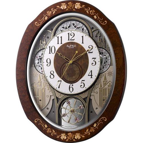 リズム時計 4MN521RH06(茶色象嵌仕上) スモールワールドティアモ 電波掛時計