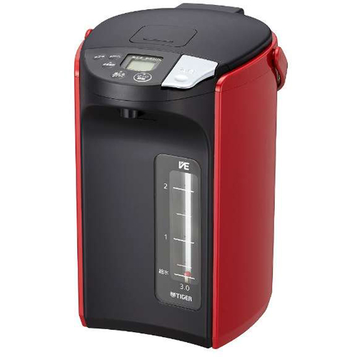 タイガー魔法瓶 PIP-A300-R(レッド) とく子さん 蒸気レス VE電気まほうびん 3.0L