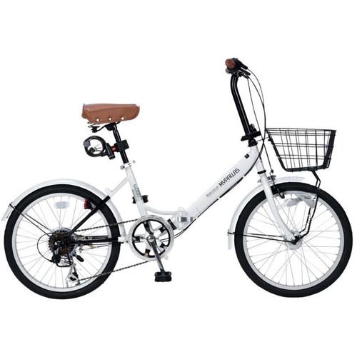 マイパラス 20インチ 折畳自転車20・6SP・オートライト M-204-W(ホワイト)