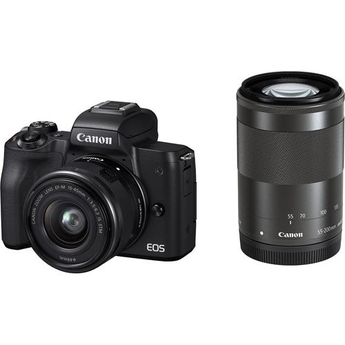 【長期保証付】CANON キヤノン ミラーレス一眼カメラ ブラック EOS Kiss M ダブルズームキット 2410万画素APS-CサイズCMOSセンサー搭載/デュアルピクセルCMOS AF