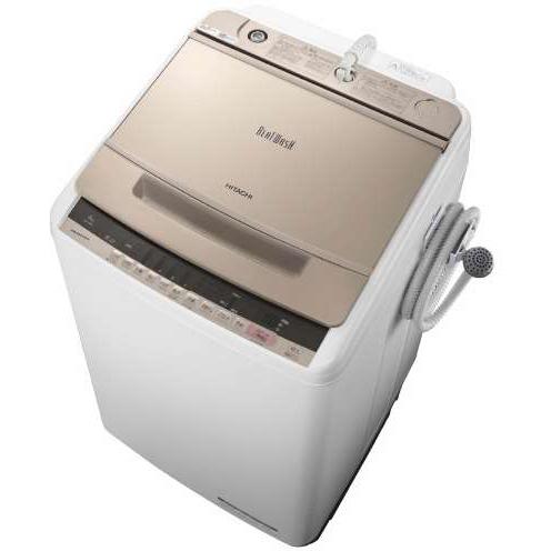 【設置+リサイクル+長期保証】日立 BW-V80C-N(シャンパン) ビートウォッシュ 全自動洗濯機 上開き 洗濯8kg