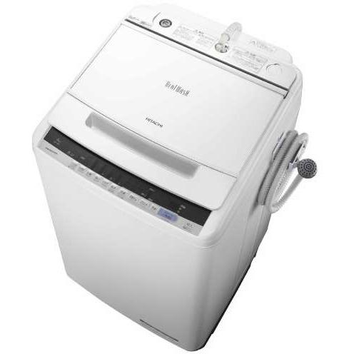 【設置】日立 BW-V80C-W(ホワイト) ビートウォッシュ 全自動洗濯機 上開き 洗濯8kg