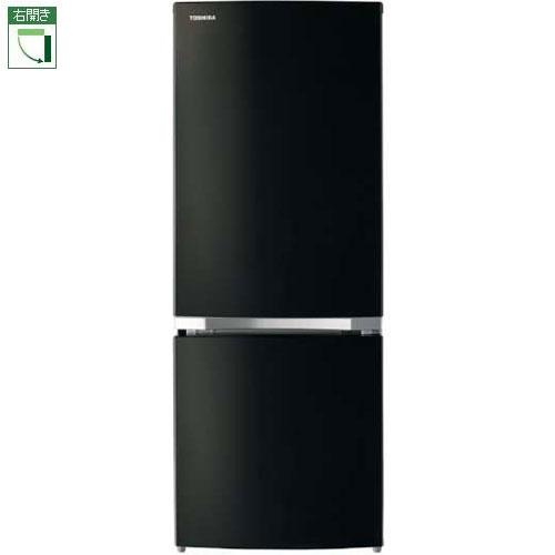 【設置】東芝 GR-P15BS-K(メタリックブラック) 2ドア冷蔵庫 右開き 153L