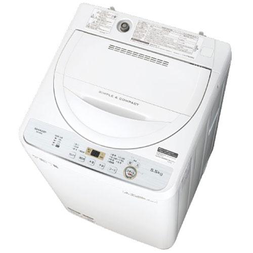 【設置】シャープ ES-GE5C-W(ホワイト) 全自動洗濯機 上開き 洗濯5.5kg