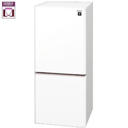 【設置】シャープ SJ-GD14E-W(クリアホワイト) 2ドア冷蔵庫 両開き 137L