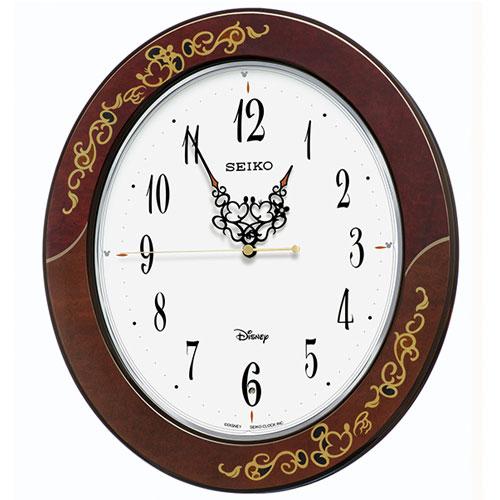 セイコー FS510B(茶唐草柄) 大人ディズニー Kiss & Heart 電波掛け時計