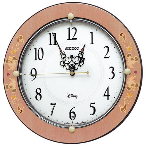 セイコー FS511P(ピンク唐草柄) 大人ディズニー Kiss & Heart 電波掛け時計